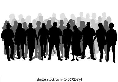 Gruppe von Menschen. Eine Menschenmenge Silhouetten.