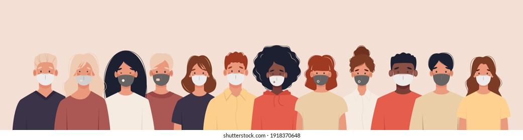 Grupo de personas de diferentes nacionalidades con máscaras médicas para prevenir enfermedades, gripe, contaminación del aire, aire contaminado, contaminación del mundo. Ilustración en un estilo plano