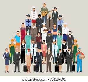 Group of people with different occupation. Employee and workers characters standing together.