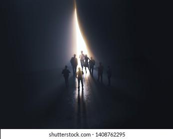 groupe de personnes à la porte menant à la lumière, illustration 3d