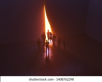 group of people at the door leading to the light, 3d illustration