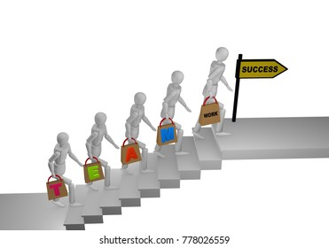 Group of people going up a stair and holding in their hands bags with the word Teamwork. At the end of the stairs is a sign with success. 3d rendering