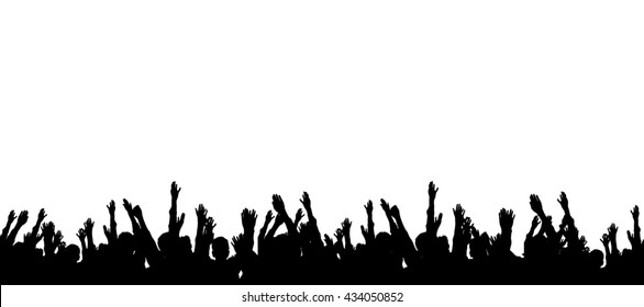 Group of people hands up illustration