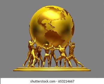 Gruppe von Menschen hält die Welt, flache Sicht, 3d-Illustration