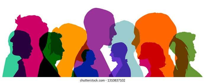 Group of people as an illustration with colorful heads as a team concept