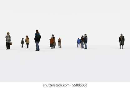 a group of people on withe background