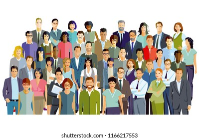 Group of people and partnership, group picture, illustration