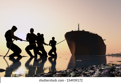 Group of people pulling a tanker.