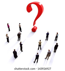 Group of people with questions , thinking concept, or quest for answers on a white background.