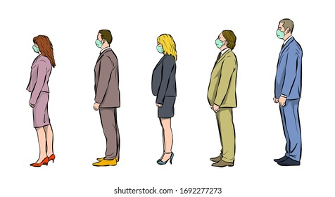 a group of people queue for their turn.  they are spaced apart and breathe through a protective mask.  covid-19 prevention.  illustration.