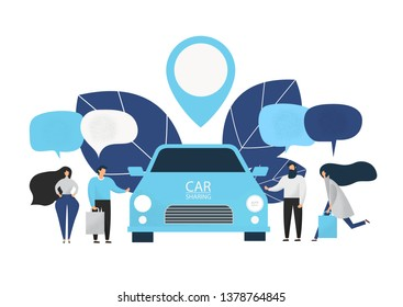 Group of people rent a car in carsharing service. Car sharing service advertising web page template. Flat design.