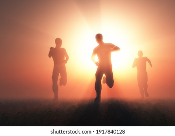 Group of people running at dawn., 3d render