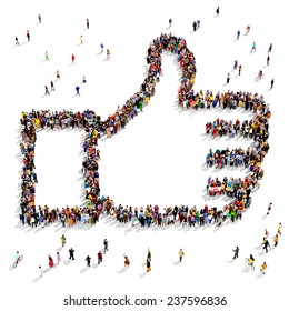 "Group of people seen from above gathered together in the shape of a ""thumbs up"" symbol standing on a white background"