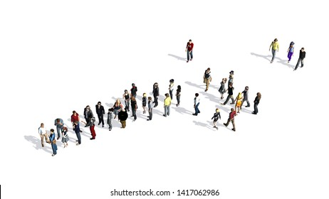 group of people with shadow on the floor - top view - isolated on white background - 3D illustration