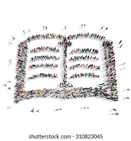 A group of people in the shape of book, cartoon, isolated, white background.