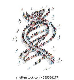 A group of people in the shape of DNA, cartoon isolated on a white background.
