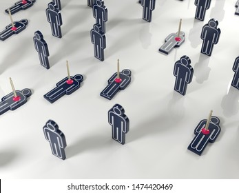 group of people some of whom are killed, 3d illustration