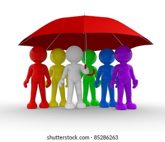 Group of people under the umbrella - This is a 3d render illustration
