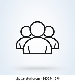 Group of people and user Simple modern icon design illustration.
