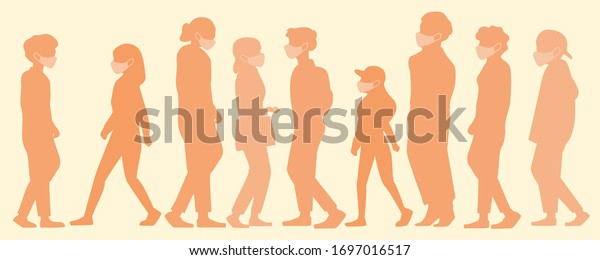 Group of people walking on the street and wearing protective masks to avoid coronavirus, orange tone flat silhouette