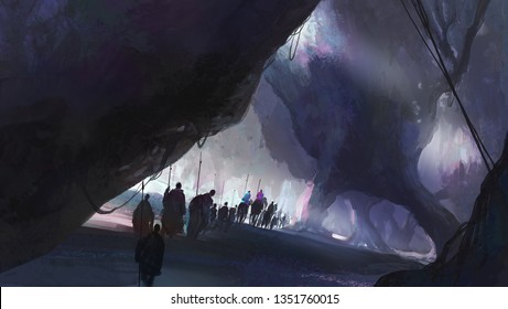 A group of people walking in a strange environment, digital illustration.