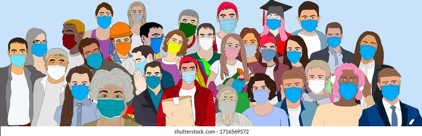 Group of people wearing medical masks to prevent disease, flu, air pollution, epidemic, covid-19, coronavirus. illustration in a flat style A