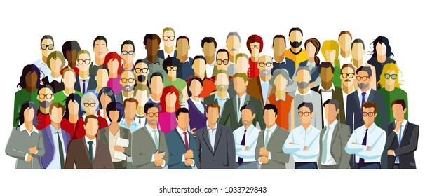 Group picture with diverse people, illustration, Illustration