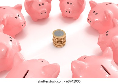 Group of piggy banks looking at a pile of coins in the middle