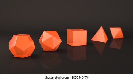A group of Platonic bodies made of fiery glass, orange. Polygonal shapes, polyhedra in the Studio with a reflective background. Illustration of abstraction. 3D rendering