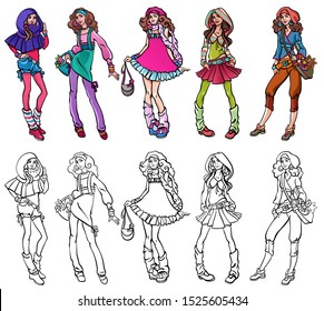 Group portrait of five teenage girls, school or college friends, standing together, communicating, smiling. Happy pupils or students. Casual fashion design. Isolated. Set of illustrations for coloring