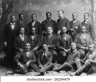 Group portrait of the 'Ministers Class' at Roger Williams University of Nashville, Tennessee. The college was founded in 1864 to educate former slaves. 1899.