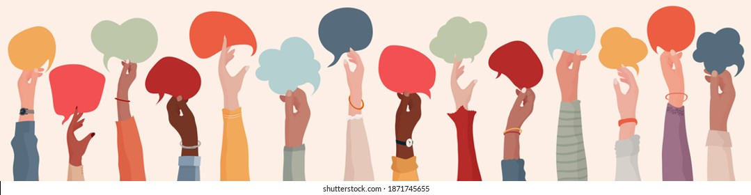 Group Raised arms of diversity multi-ethnic multicultural people holding speech bubble in hand. Diverse people talking  chatting and sharing information on social networks. Racial equality