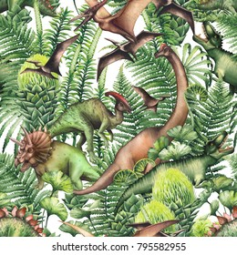 Group of realistic watercolor dinosaurs surrounded by lush prehistoric plants. Animals of Jurassic period. Hand painted seamless pattern