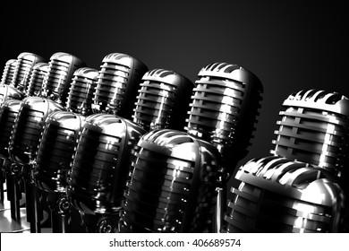 Group of retro microphones symbolizing gospel, symphonic or jazz choir. 3D illustration.
