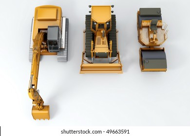 Group road machinery for road construction. Top view. On grey