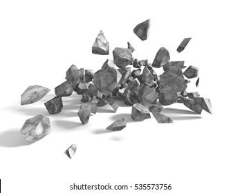 Group of rocks and stones boulders on white background. 3d render illustration