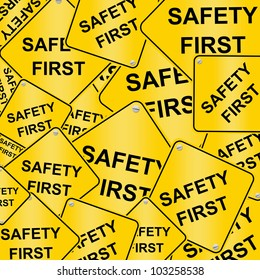 Group of The Safety First Road Sign Isolated on White Background