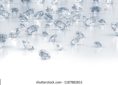 Group of scattered diamonds. 3D render