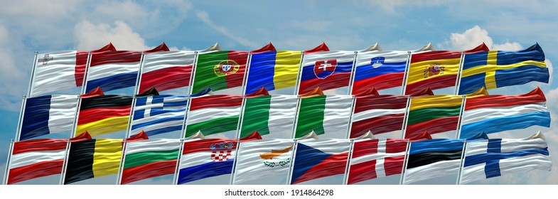 Group of Seven G7 flags waving with texture background- 3D illustration - 3D render