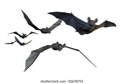 A group of six bats flying  on white - 3D render with digital painting.