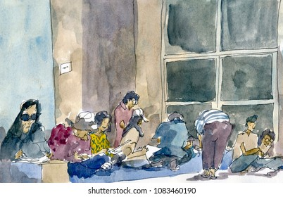 A group of sketcher that is sketching in Bangkok, A watercolour illustration painting