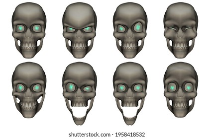A group of skulls with different expressions of emotions. 3d illustration