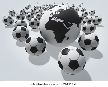 Group of soccer balls with globe. Europe and Africa view.