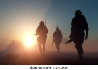 A group of soldiers is fog..3d render