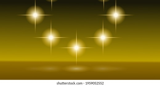 A group of stars or flares composing a circular shapes and projecting their light in the floor. Digital illustration