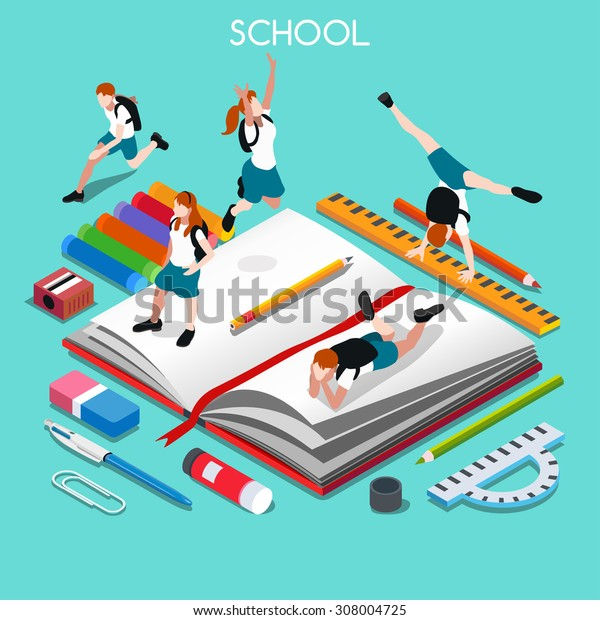 Group of Students and Stationery. 3D Flat Isometric People Students. Graduation celebration or Back to School concept. Education Infographic Homework Stationery and Kids Group Illustration.