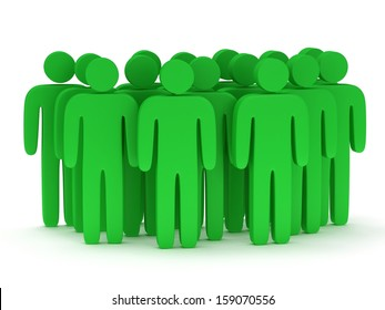 Group of stylized green people stand on white. Isolated 3d render icon. Teamwork, business concept.