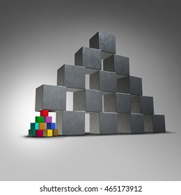 Group teamwork support and groundwork icon as a small team of diverse cubes supporting a large pyramid structure working together helping a business organization metaphor as a 3D illustration.