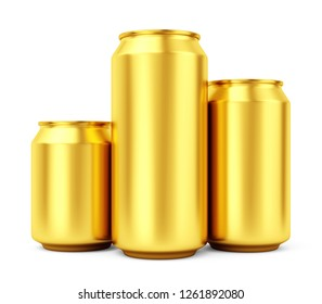 Group of three blank metalic gold beer or soda cans isolated on white background. Empty tin drink can template. 3D illustration