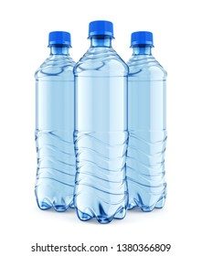 Group of three plastic bottles of still water with blue cap isolated on white background. Front view close-up. 3D illustration